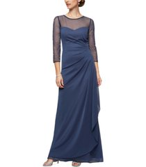 alex evenings illusion-trim embellished-sleeve gown