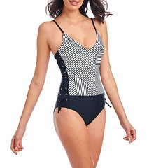 laced geo-print 1-piece swimsuit
