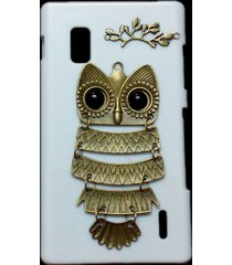 3d cute retro bronze metal owl branch hard back case cover for lg optimus g e970