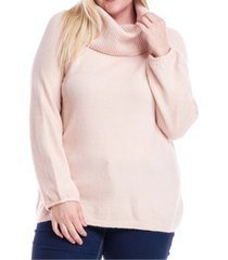 fever plus size cowlneck off-the-shoulder sweater