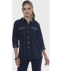 blusa mezclilla aplicación de strass en bolsillo azul curvi