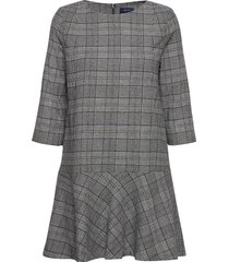d1. checked flare dress korte jurk grijs gant