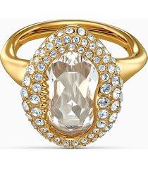 anello shell, bianco, placcato color oro