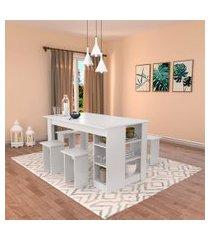 conjunto de mesa de cozinha com 4 bancos | banquetas regina branco 140 cm