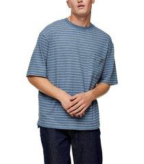 men's topman boxy fit stripe t-shirt, size x-small - blue
