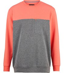 sweatshirt men plus grijs::koraal