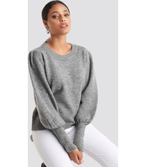 na-kd puff sleeve wide rib knitted sweater - grey