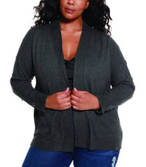 belldini black label women's plus size grommet and toggle trim open cardigan