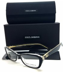 new dolce gabbana dg 3168 plastic eyeglasses color 2737 black glitter gold 53mm