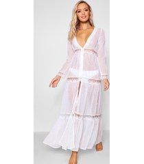 kanten boho strand jurk, white
