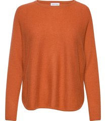 curved sweater stickad tröja orange davida cashmere
