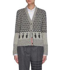 fair isle motif jacquard wool mohair blend tweed cardigan