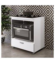 balcão para forno e cooktop 5 bocas completa móveis 1 gaveta branco