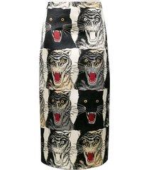 gezicht van de tijger print a-lijn rok