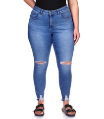 plus size women's dl1961 florence instasculpt high waist ankle skinny jeans, size 18w - blue