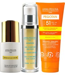kit coffret illuminé anna pegova - sérum anti-idade sublime 25ml gel para contorno dos olhos akinesine 12ml protetor solar facial fps51 - 50g