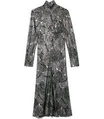 leaf lurex turtleneck dress in silver/black