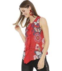 blusa desigual sm rojo - calce holgado