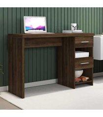 mesa escrivaninha 2 gavetas duna new capuccino - móveis germai