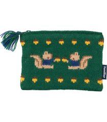 familiar intarsia-knit pouch - green