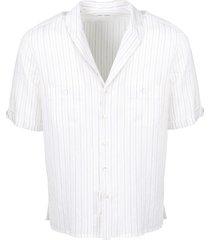 shawl collar striped shirt