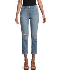 joe's jeans women's ripped cropped slim boyfriend jeans - blue - size 29 (6-8)