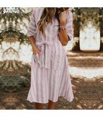 zanzea vestido de camiseta de playa de verano de manga corta para mujer túnica mini vestido de vacaciones -rosado