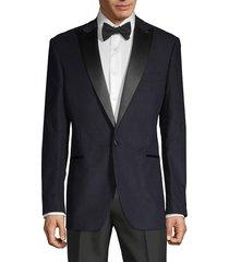 saks fifth avenue men's standard-fit cotton-blend tuxedo jacket - navy - size 44 r