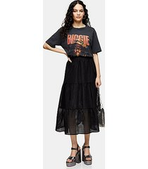 black check organza tiered midi skirt - black