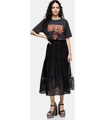 black check organza tiered midi skirt - black