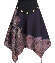 paisley print mock button elastic waist asymmetrical skirt