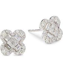 diana m jewels women's 14k white gold & 1.30 tcw diamond stud earrings
