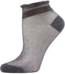women's metallic sheer shortie socks