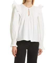 women's sea varsha ruffle cotton blouse, size medium - white