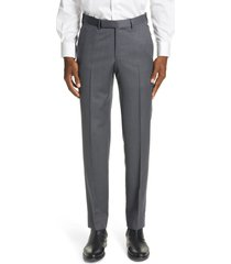 men's ermenegildo zegna micronsphere classic fit wool dress pants, size 48 eu - grey