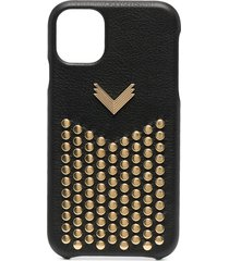 manokhi studded leather iphone 11 case - black