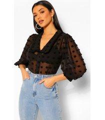 blouse met geweven kraagdetail, zwart