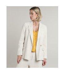 blazer feminino com linho e bolsos bege claro