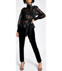 river island womens black lace long sleeve tie belted blouse