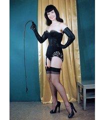 bettie page     black corset & whip      2.5 x 3.5 fridge magnet
