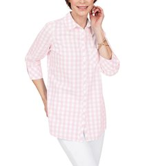 women's foxcroft germaine gingham cotton blouse, size 6 - pink