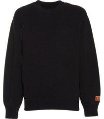 black stamp knit sweatshirt