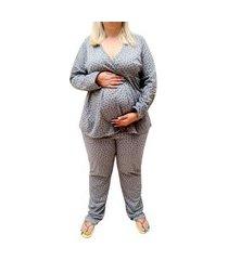 pijama longo plus size maternidade coração marinho linda gestante