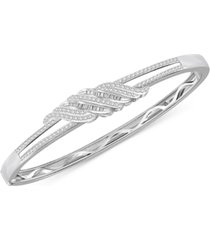 diamond twist bangle bracelet (1 ct. t.w.) in sterling silver & 14k gold plated sterling silver