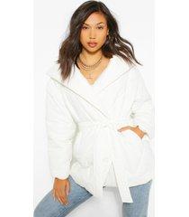 lange gewatteerde wikkel jas met ceintuur, white