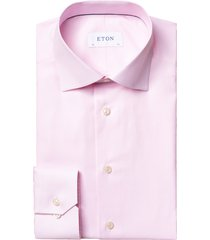 men's eton geo slim fit dress shirt, size 17 - pink