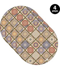 capa para sousplat mdecore abstrato colorido 4pã§s - bege - dafiti