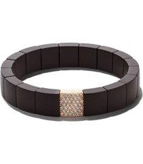 roberto demeglio pulseira domino de ouro 18k com diamante e cerâmica - marrom