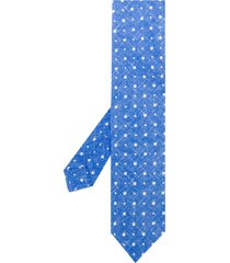 kiton mini square print tie - blue