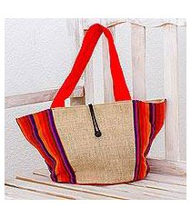 cotton and jute tote handbag, 'summer festival' (guatemala)